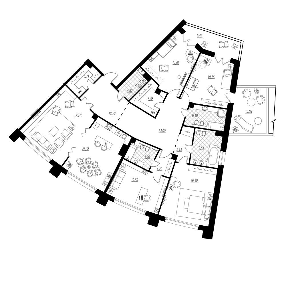 5-комнатная квартира, 248.39 м²; этаж: 4 - купить в Санкт-Петербурге