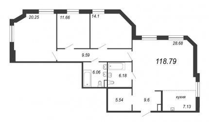 3-комнатная квартира, 118.79 м²; этаж: 3 - купить в Санкт-Петербурге