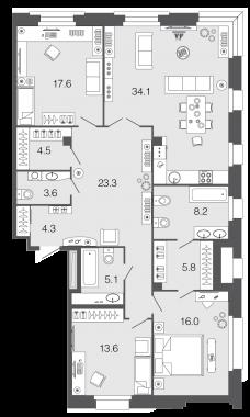 3-комнатная квартира, 136.1 м²; этаж: 2 - купить в Санкт-Петербурге