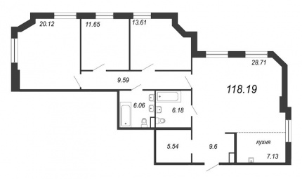 3-комнатная квартира, 118.19 м²; этаж: 6 - купить в Санкт-Петербурге