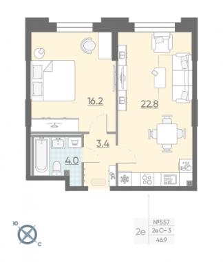 1-комнатная квартира №42 в: Цивилизация на Неве: 46.9 м²; этаж: 2 - купить в Санкт-Петербурге