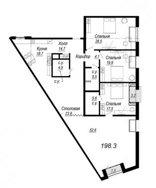 4-комнатная квартира, 198.3 м²; этаж: 7 - купить в Санкт-Петербурге