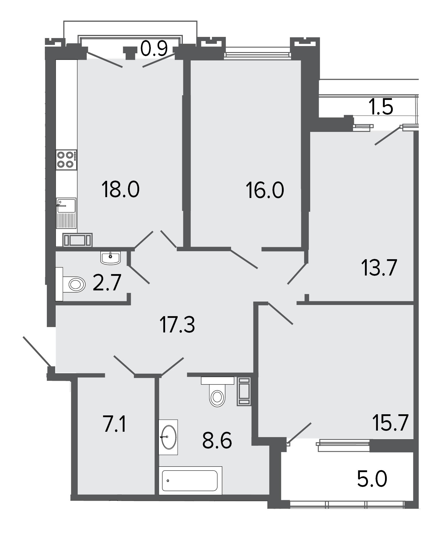 3-комнатная квартира, 99.1 м²; этаж: 7 - купить в Санкт-Петербурге