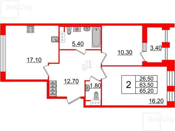 2-комнатная квартира №3 в: Светлана парк: 63.5 м²; этаж: 9 - купить в Санкт-Петербурге