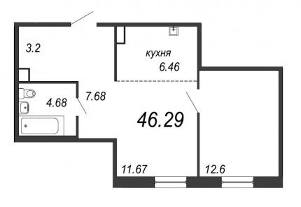 1-комнатная квартира, 46.29 м²; этаж: 4 - купить в Санкт-Петербурге
