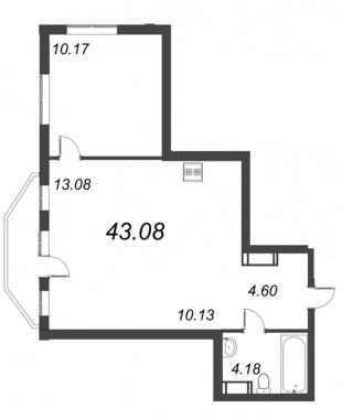 1-комнатная квартира №72 в: ID Moskovskiy: 43.08 м²; этаж: 8 - купить в Санкт-Петербурге