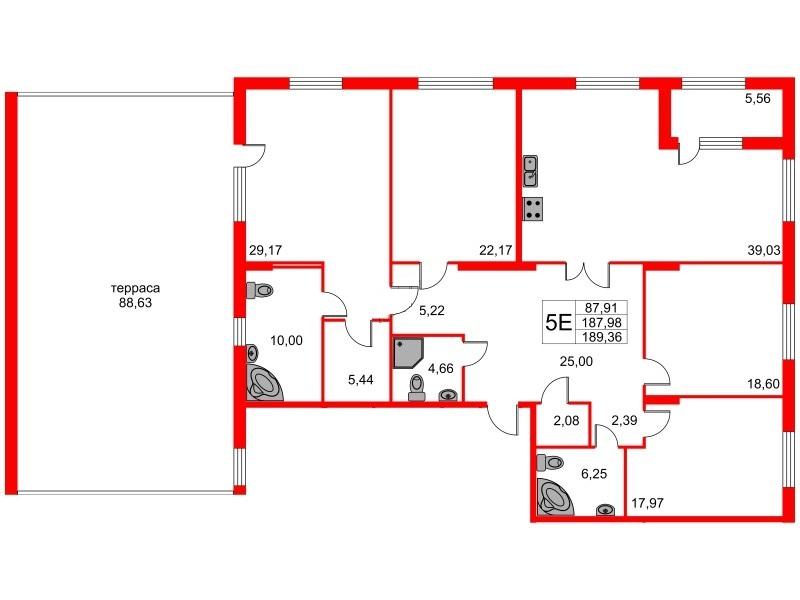 4-комнатная квартира, 217.35 м²; этаж: 2 - купить в Санкт-Петербурге