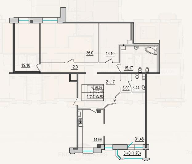 3-комнатная квартира №9 в: 4-я Советская, 9: 173.4 м²; этаж: 3 - купить в Санкт-Петербурге