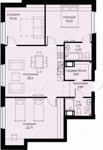 3-комнатная квартира, 97.07 м²; этаж: 7 - купить в Санкт-Петербурге