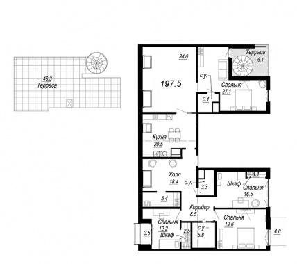 5-комнатная квартира №27 в: Meltzer Hall: 197.5 м²; этаж: 8 - купить в Санкт-Петербурге