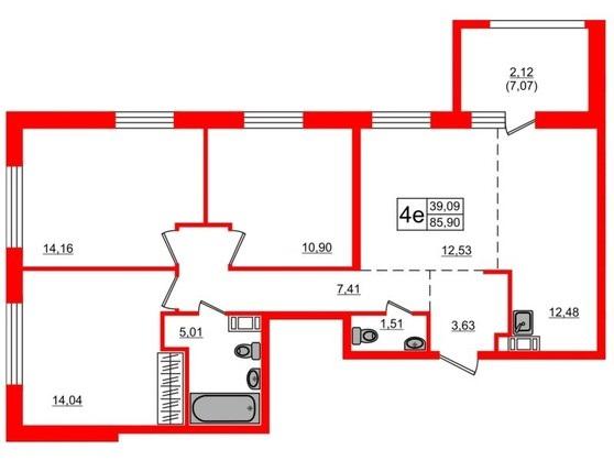 4-комнатная квартира, 80.7 м²; этаж: 2 - купить в Санкт-Петербурге