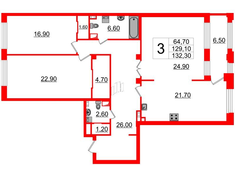 3-комнатная квартира, 129.1 м²; этаж: 2 - купить в Санкт-Петербурге