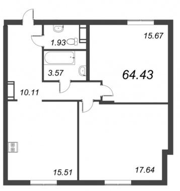 2-комнатная квартира №72 в: ID Moskovskiy: 64.43 м²; этаж: 7 - купить в Санкт-Петербурге