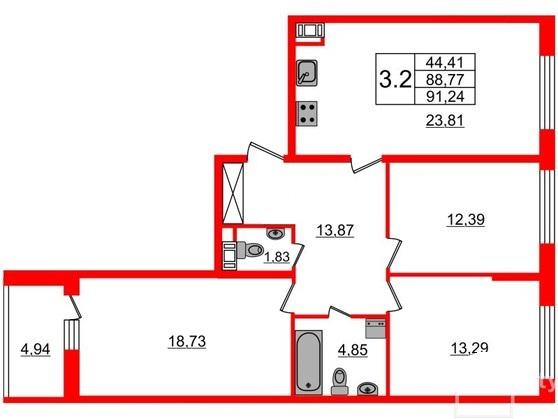 3-комнатная квартира №66 в: Притяжение: 88.77 м²; этаж: 8 - купить в Санкт-Петербурге