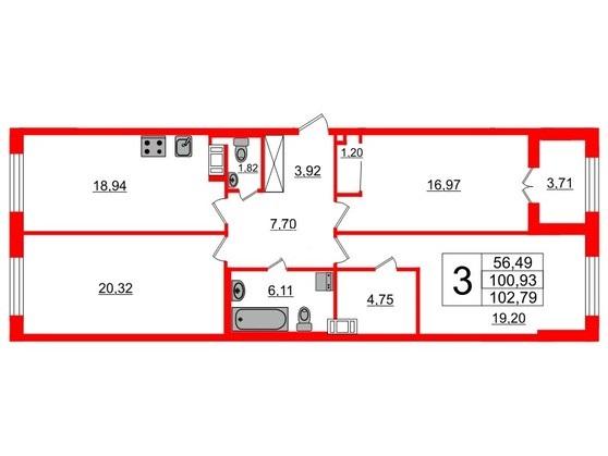 3-комнатная квартира, 102 м²; этаж: 2 - купить в Санкт-Петербурге