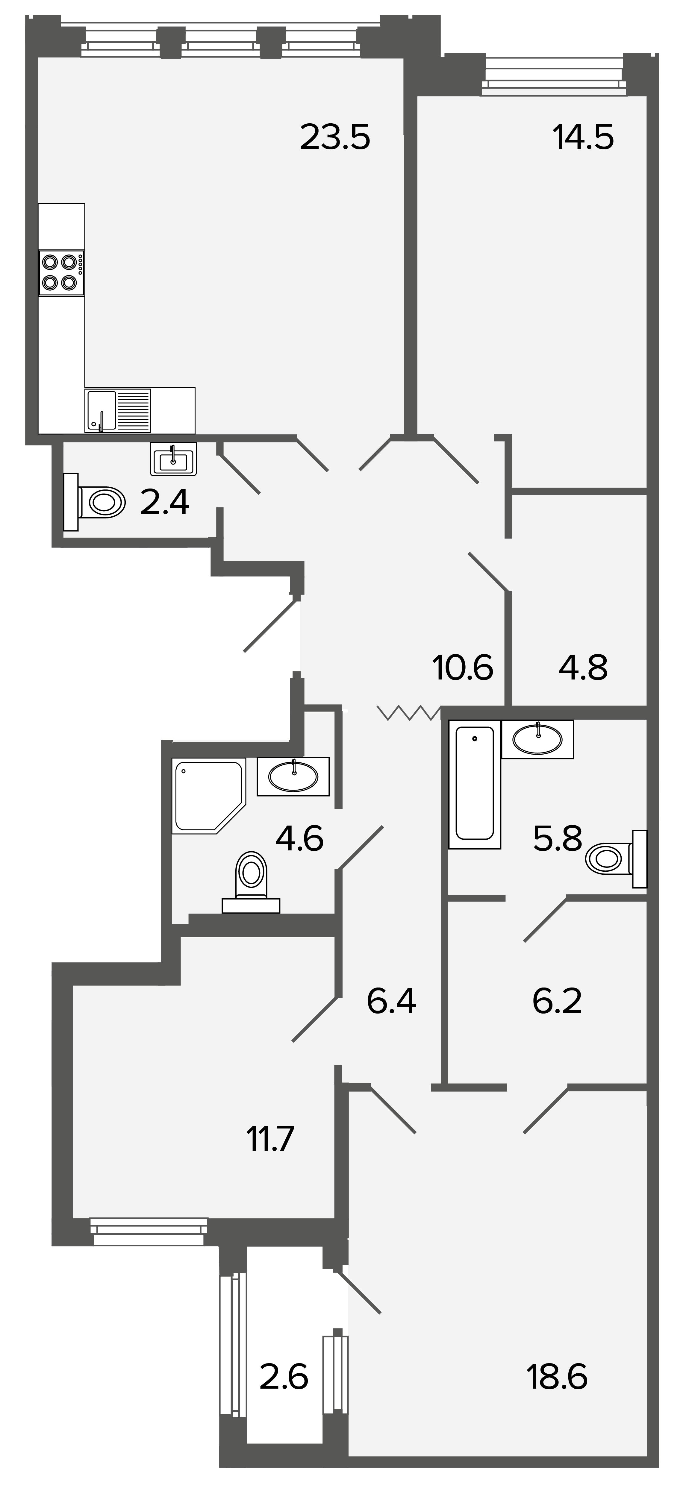 3-комнатная квартира, 109.1 м²; этаж: 3 - купить в Санкт-Петербурге