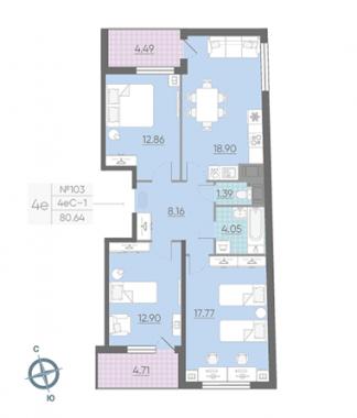 4-комнатная квартира, 80.64 м²; этаж: 13 - купить в Санкт-Петербурге