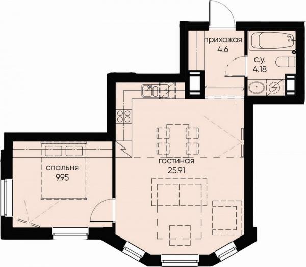 1-комнатная квартира №72 в: ID Moskovskiy: 44.64 м²; этаж: 7 - купить в Санкт-Петербурге