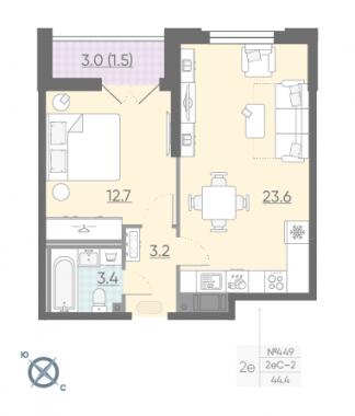 1-комнатная квартира №42 в: Цивилизация на Неве: 44.4 м²; этаж: 16 - купить в Санкт-Петербурге