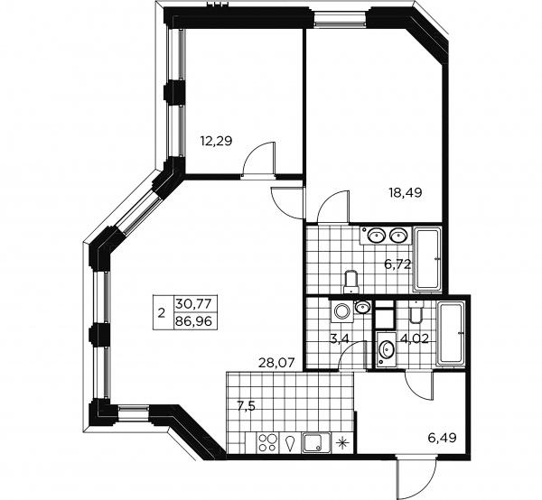2-комнатная квартира, 86.96 м²; этаж: 7 - купить в Санкт-Петербурге