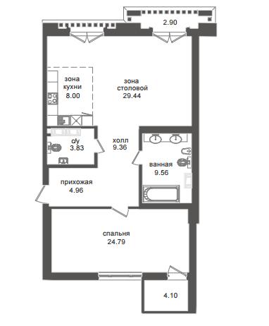 1-комнатная квартира №32А в: Приоритет: 91.21 м²; этаж: 3 - купить в Санкт-Петербурге