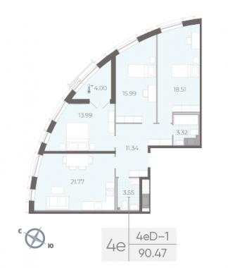 3-комнатная квартира №14 в:  Морская набережная.SeaView II очередь: 90.47 м²; этаж: 8 - купить в Санкт-Петербурге