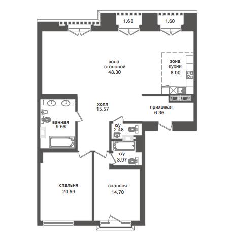 2-комнатная квартира №32А в: Приоритет: 130.2 м²; этаж: 3 - купить в Санкт-Петербурге