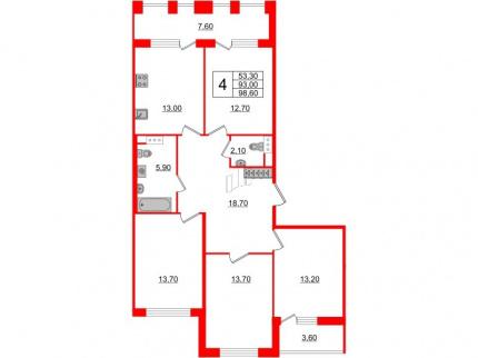 4-комнатная квартира, 93 м²; этаж: 10 - купить в Санкт-Петербурге