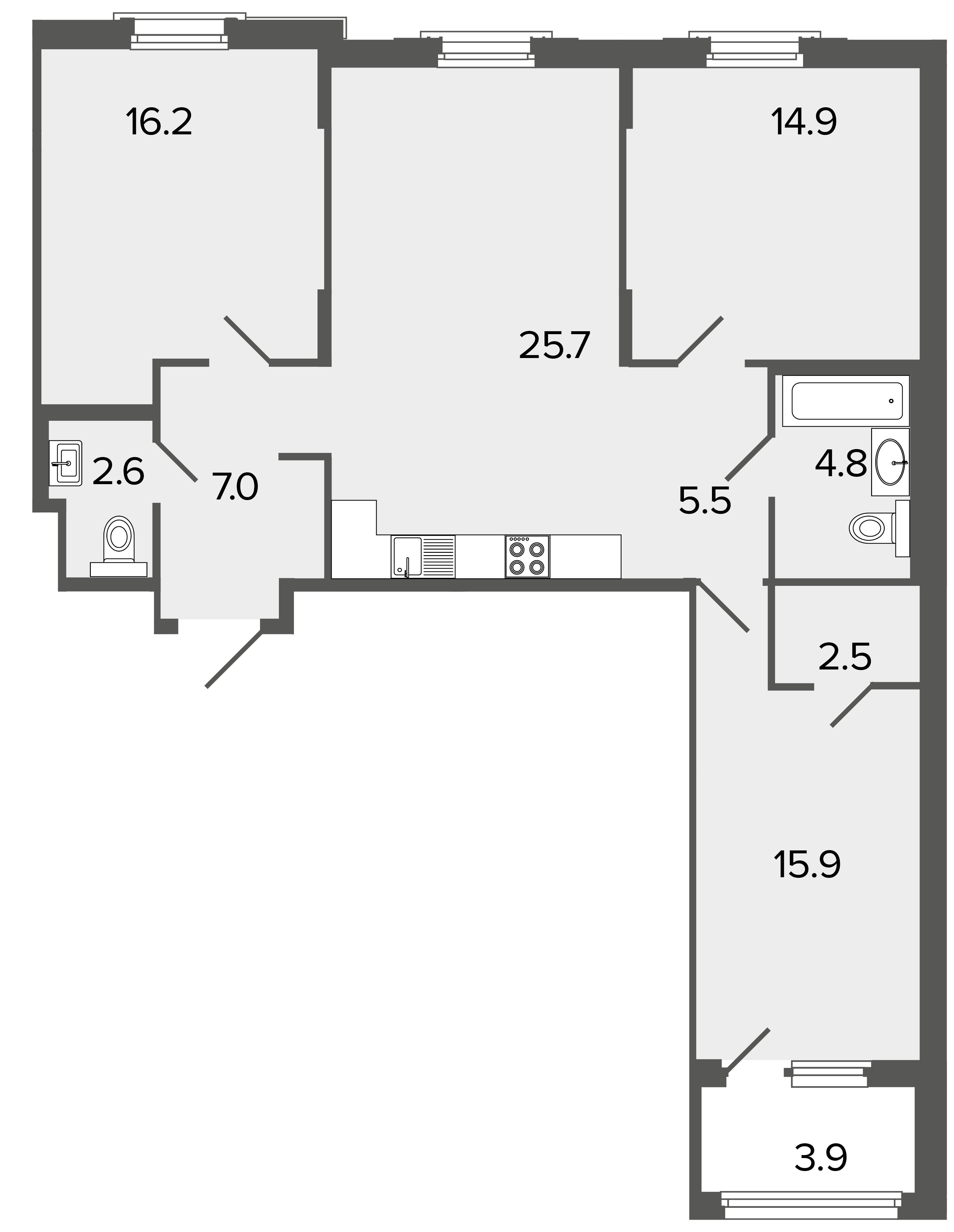 3-комнатная квартира, 95.1 м²; этаж: 2 - купить в Санкт-Петербурге