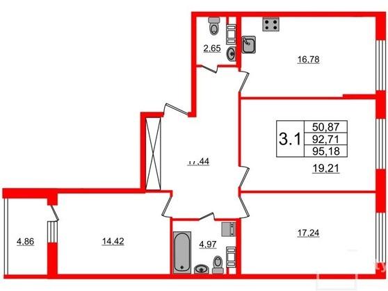 3-комнатная квартира №66 в: Притяжение: 92.71 м²; этаж: 7 - купить в Санкт-Петербурге