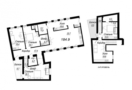 4-комнатная квартира, 184.9 м²; этаж: 7 - купить в Санкт-Петербурге