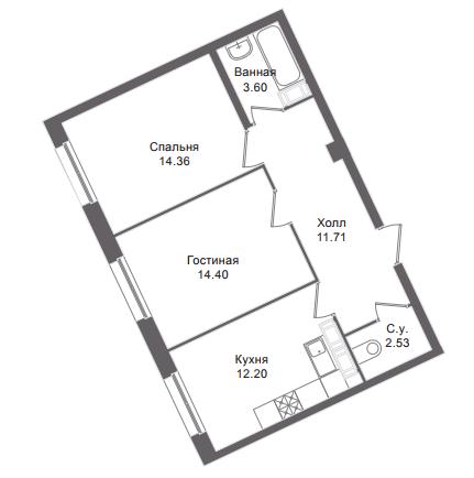 2-комнатная квартира, 58.4 м²; этаж: 6 - купить в Санкт-Петербурге