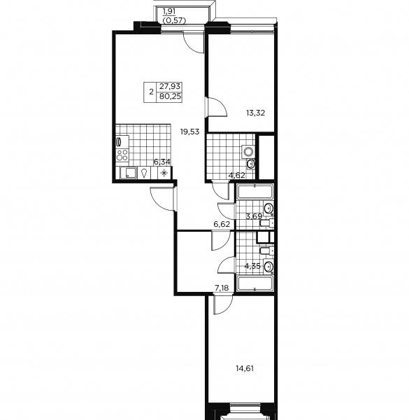 2-комнатная квартира, 80.82 м²; этаж: 3 - купить в Санкт-Петербурге