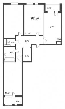 3-комнатная квартира, 82.2 м²; этаж: 3 - купить в Санкт-Петербурге