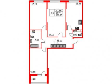 3-комнатная квартира, 99.41 м²; этаж: 9 - купить в Санкт-Петербурге