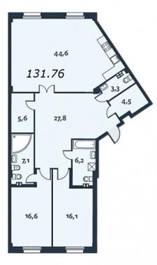 2-комнатная квартира, 131.7 м²; этаж: 2 - купить в Санкт-Петербурге