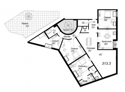 5-комнатная квартира №27 в: Meltzer Hall: 313.3 м²; этаж: 8 - купить в Санкт-Петербурге