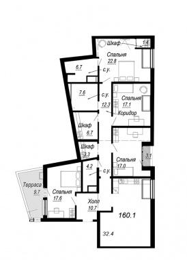 4-комнатная квартира №27 в: Meltzer Hall: 160.1 м²; этаж: 8 - купить в Санкт-Петербурге