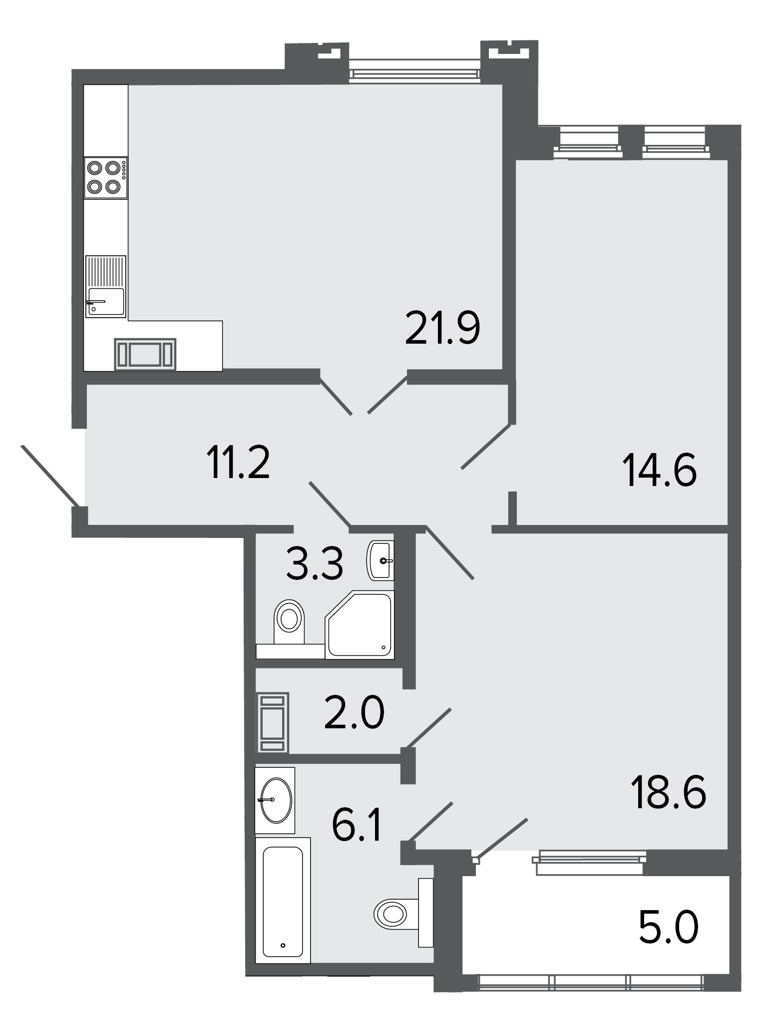 2-комнатная квартира, 77.7 м²; этаж: 6 - купить в Санкт-Петербурге