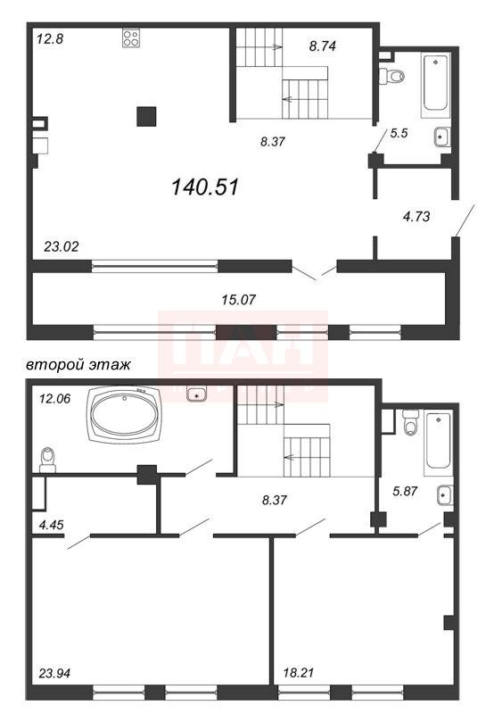 3-комнатная квартира №5-7/1, литера А в: Маленькая Франция: 141.68 м²; этаж: 1 - купить в Санкт-Петербурге