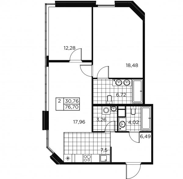 2-комнатная квартира, 76.7 м²; этаж: 2 - купить в Санкт-Петербурге