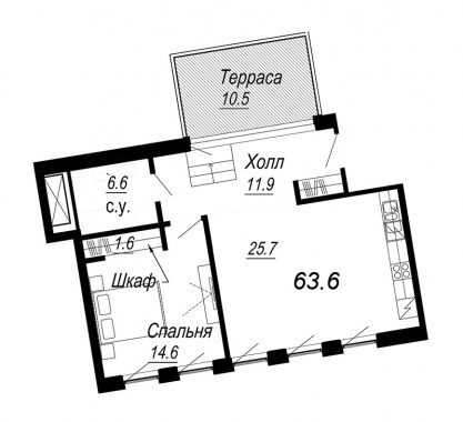 1-комнатная квартира №27 в: Meltzer Hall: 63.6 м²; этаж: 6 - купить в Санкт-Петербурге