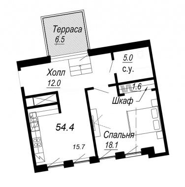 1-комнатная квартира №27 в: Meltzer Hall: 54.4 м²; этаж: 6 - купить в Санкт-Петербурге