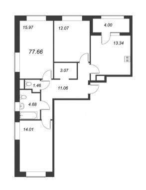 3-комнатная квартира, 77.66 м²; этаж: 13 - купить в Санкт-Петербурге