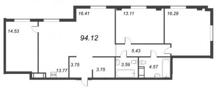 3-комнатная квартира, 94.12 м²; этаж: 3 - купить в Санкт-Петербурге