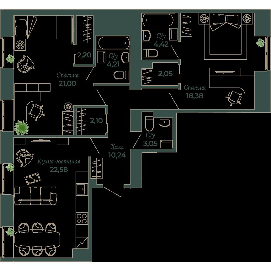 3-комнатная квартира, 92 м²; этаж: 2 - купить в Санкт-Петербурге