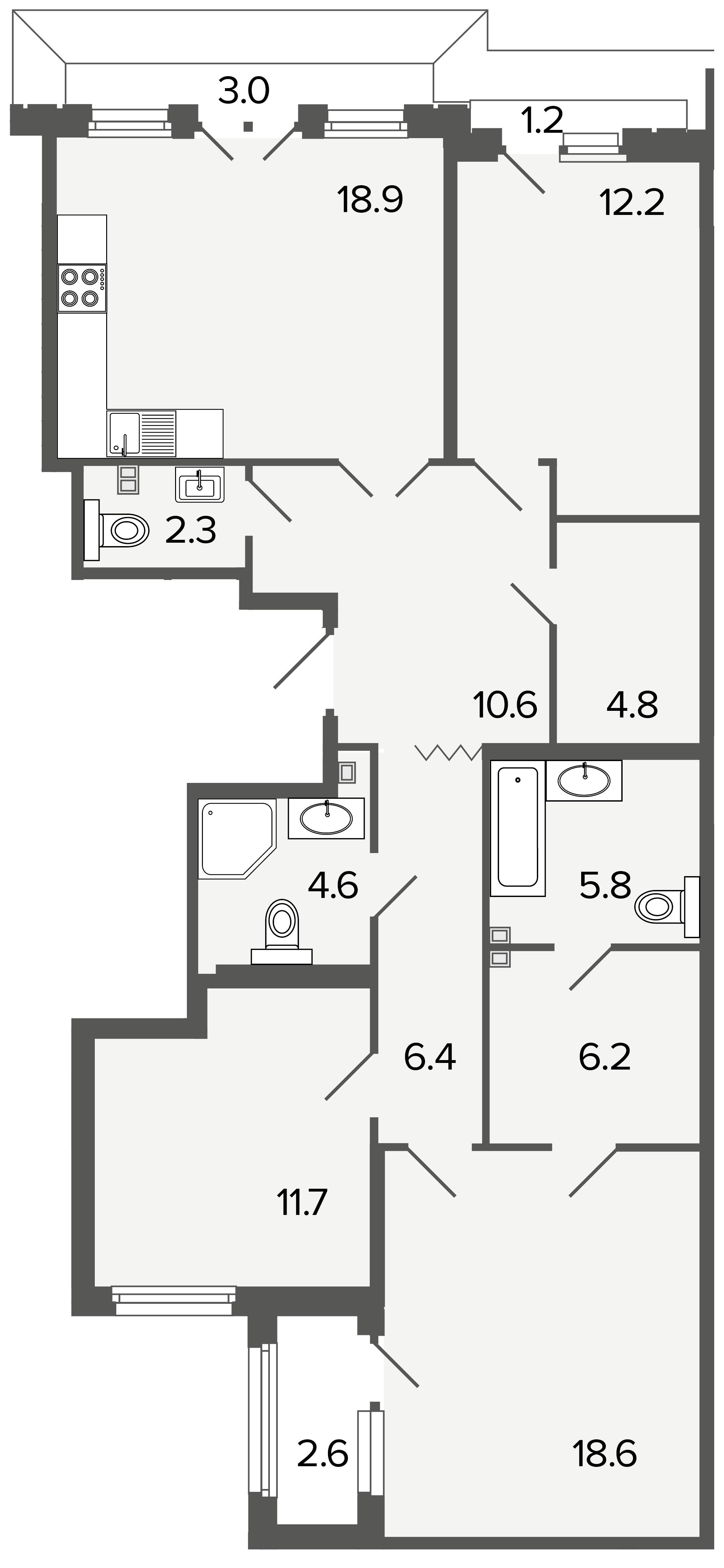3-комнатная квартира, 102.1 м²; этаж: 4 - купить в Санкт-Петербурге