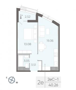 2-комнатная квартира №14 в:  Морская набережная.SeaView II очередь: 40.26 м²; этаж: 6 - купить в Санкт-Петербурге