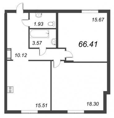 2-комнатная квартира №72 в: ID Moskovskiy: 65.1 м²; этаж: 5 - купить в Санкт-Петербурге