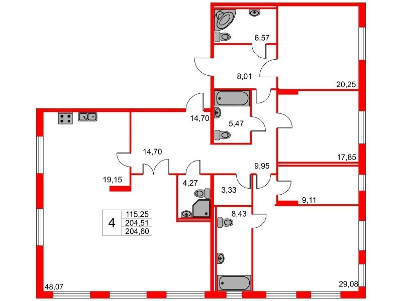 4-комнатная квартира, 204.51 м²; этаж: 2 - купить в Санкт-Петербурге
